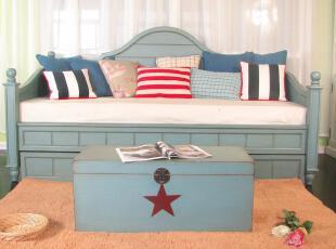 艾米尼奥家具实木家具地中海北欧风格单人位床榻Y0228,床,