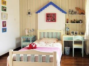 美式乡村儿童床 地中海做旧双人床 实木定制家具,床,