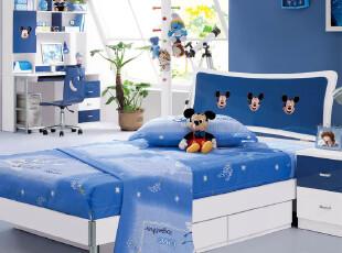 蓝色米老鼠青少年卧室儿童家具男孩女孩1.2米1.5米儿童床小床童床,床,