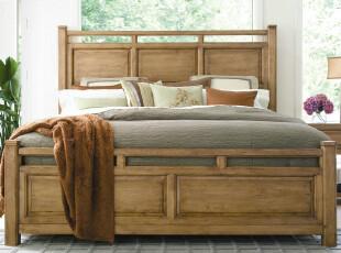 简约美式床 原木床 单人床 双人床 实木床 橡木床,床,