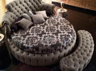 王后家居 新古典欧式家具 奢华法式桦木雕刻 1.8米实木双人圆床,床,