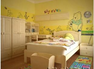 松木床实木儿童床可爱单人床可定做松木实木家具儿童房,床,