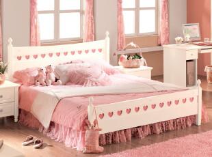 金天拓儿童床公主床套房组合家具1.5米双人床实木柱韩式田园床605,床,