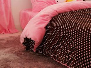 【Asa room】韩国进口代购床品棕粉色圆点短绒被套床罩四件套c925,床品,