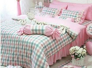 ★韩式家居★甜美公主床上用品 粉格子 床罩四件套 甜美冰激凌,床品,