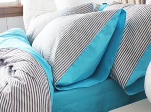 特价包邮床品 宜家简约全棉双人四件套 AB条纹床上用品1.51.8床,床品,
