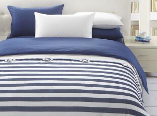 TL 家纺 全棉纯色素色四件套 纯棉床单床笠式 本白海蓝 条纹 薄纱,床品,