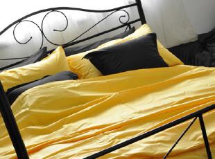 Missmei美美-40支纯棉斜纹纯色素色床品四件套-亮黄,床品,