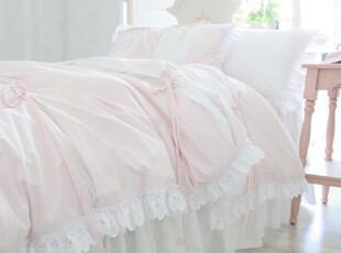 韩国进口代购淡粉色粉嫩蝴蝶结荷叶边蕾丝甜美公主四件套床品套件,床品,