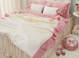 【Asa room】韩国进口代购床品 可定做公主粉色婚庆四件套 c752,床品,