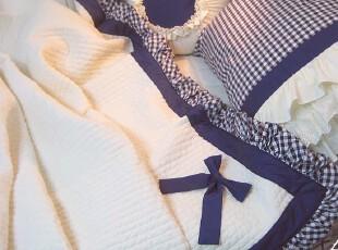 韩国进口代购深蓝色格子缝纫夹棉蝴蝶结荷叶边四件套床品套件,床品,