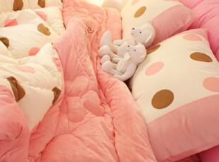 【Asa room】韩国进口代购床品 公主粉色圆点短绒四件套 c721-p,床品,