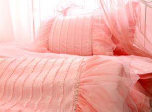 【韩国床品-可定做】梦幻蕾丝柔纱 婚房床品套件*被套床裙 粉色,床品,