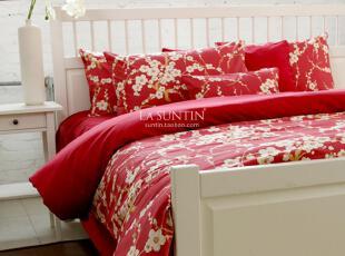 英国樱花 外贸全棉贡缎床品四件套六件套 红色婚庆 新婚床上用品,床品,