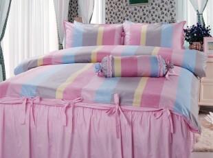 韩式公主床品 可爱公主床上用品田园全棉床裙四件套 五彩条,床品,