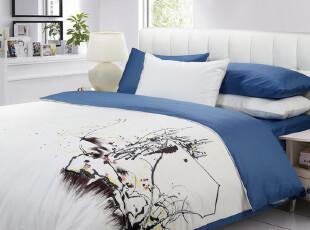 【新品】慢漫家纺 素色韩国绣花四件套 全棉床单床笠式 床上用品,床品,