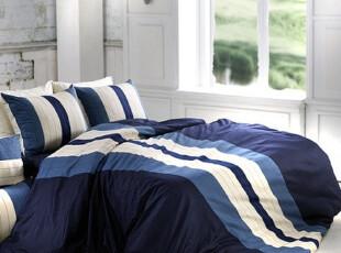10.4【韩国床品】海军蓝色条纹 40支纯棉床品套件*被套枕套床笠,床品,