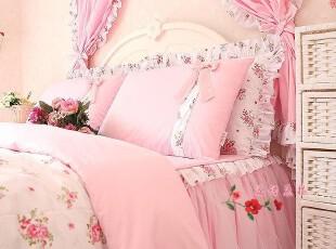 韩式家纺特价 淑女屋床上用品公主床品 全棉四/六件套件 粉色恋人,床品,