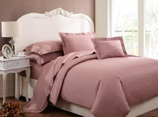格蒂雅外贸原单 pima棉400根80支全棉贡缎床品四件套 纯色暗晶红,床品,