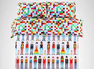 觉家纺 床上用品四件套真我时代 超柔速干 潮流原创 像素肌理,床品,