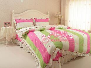 韩式家纺正品田园公主床上用品全棉卡通四件套条纹床品飞扬的青春,床品,