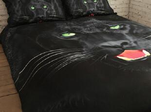 薇安家纺 全棉床单四件套 纯棉活性贡缎床上用品 个性油画黑豹,床品,