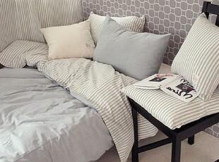 100%全棉四件套 宜家简约床上用品被套学生单人床三件套特价包邮,床品,