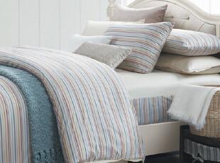 TL家居 床单床笠式 纯棉50支长绒贡缎 色织提花 四件套 质感条格,床品,