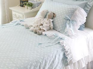 韩国进口代购粉蓝色大水玉圆点荷叶边可爱甜美四件套床品套件,床品,