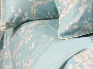 LAURA ASHLEY原单柔美清新花卉床品四件套 水蓝烫银 到货,床品,