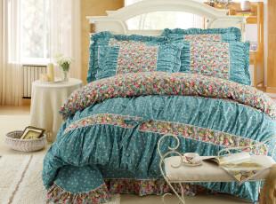 实物拍摄 2米床韩版家纺公主床品床罩式全棉四件套 繁花盛放,床品,