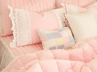 【Asa room】韩国进口代购床品粉嫩公主短绒荷叶边被子三件套c587,床品,
