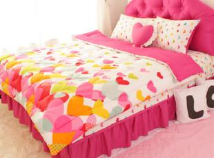 【Asa room】韩国进口代购床品 公主时尚桃心被子床裙四件套 c014,床品,