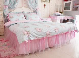 韩式碎花公主床品套件全棉床裙式蕾丝四件天使丽人二等品限量处理,床品,