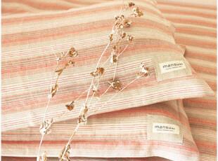 [慢素mansu]沉睡。自然风棉麻床单三件套温暖彩条纹  可定做,床品,