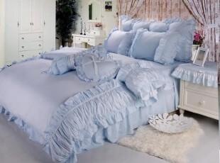 蓝色条纹花边韩式公主纯棉床品四件套,床品,