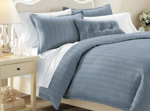 格蒂雅  欧美流行风全棉被套枕套三件套床品套件 人字纹蓝色,床品,