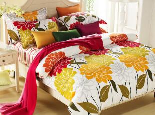 2012 秋冬新品 全棉印花床单式床上四件套 田园风格纯棉床品套件,床品,