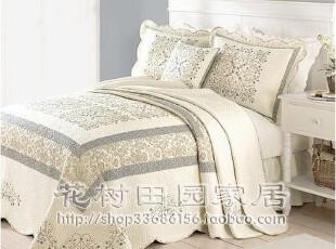 典雅简欧 蓝灰绣花+拼布 纯棉全棉空调被 床盖 床单 绗缝被三件套,床品,