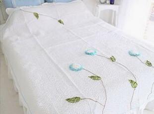 韩国进口代购 蓝色花朵清凉薄被三件套夏凉被 空调被三件套,床品,