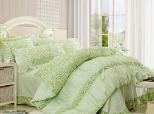 特价包邮实拍纯棉斜纹床上用品韩式公主田园木耳床裙1.5四件套绿,床品,