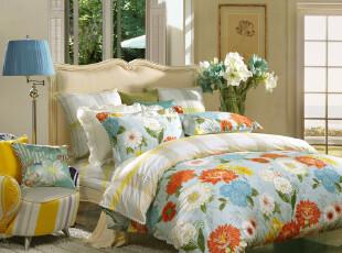 【周年庆】富安娜 爱在花开/花满园  床单四件套全棉斜纹印花1.8,床品,