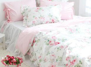 【韩国床品-可定做】绽放的玫瑰花 纯棉床品套件*被套床裙款,床品,
