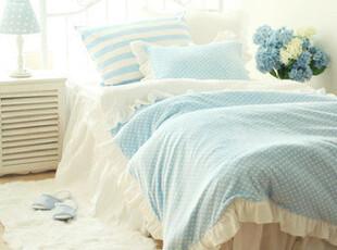 【韩国床品-可定做】蓝色甜美点点舒适保暖短绒床品套件*被套床裙,床品,