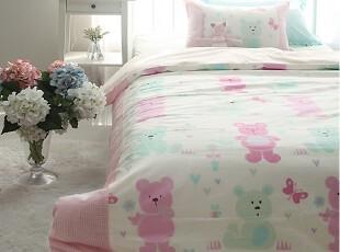【韩国进口床品】A067 可爱卡通小熊粉色儿童房床品两件套,床品,