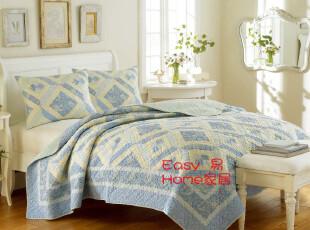 外贸原单 LAURA ASHLEY 美式乡村拼布绗缝被床盖 空调被三件套,床品,