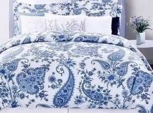 美国进口-美式青花瓷佩斯利300TC被套枕套三件套 面料超好 2.0床,床品,