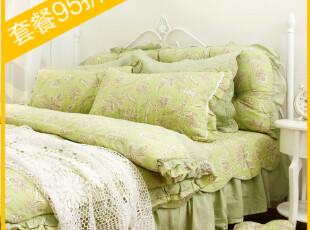 芙熙【孔雀草】绿色床品 全棉绗缝被三件套 床上四件套多件套床盖,床品,