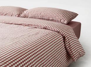 红格水洗棉三件套/被套枕套/新疆棉床品/MUJI无印良品风格9005,床品,