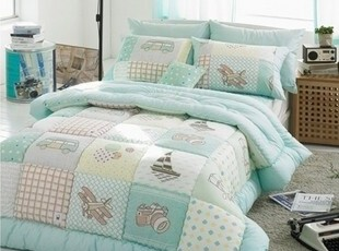 韩国正品代购 清新卡通儿童纯棉被子四件套床品套件 薄荷绿,床品,